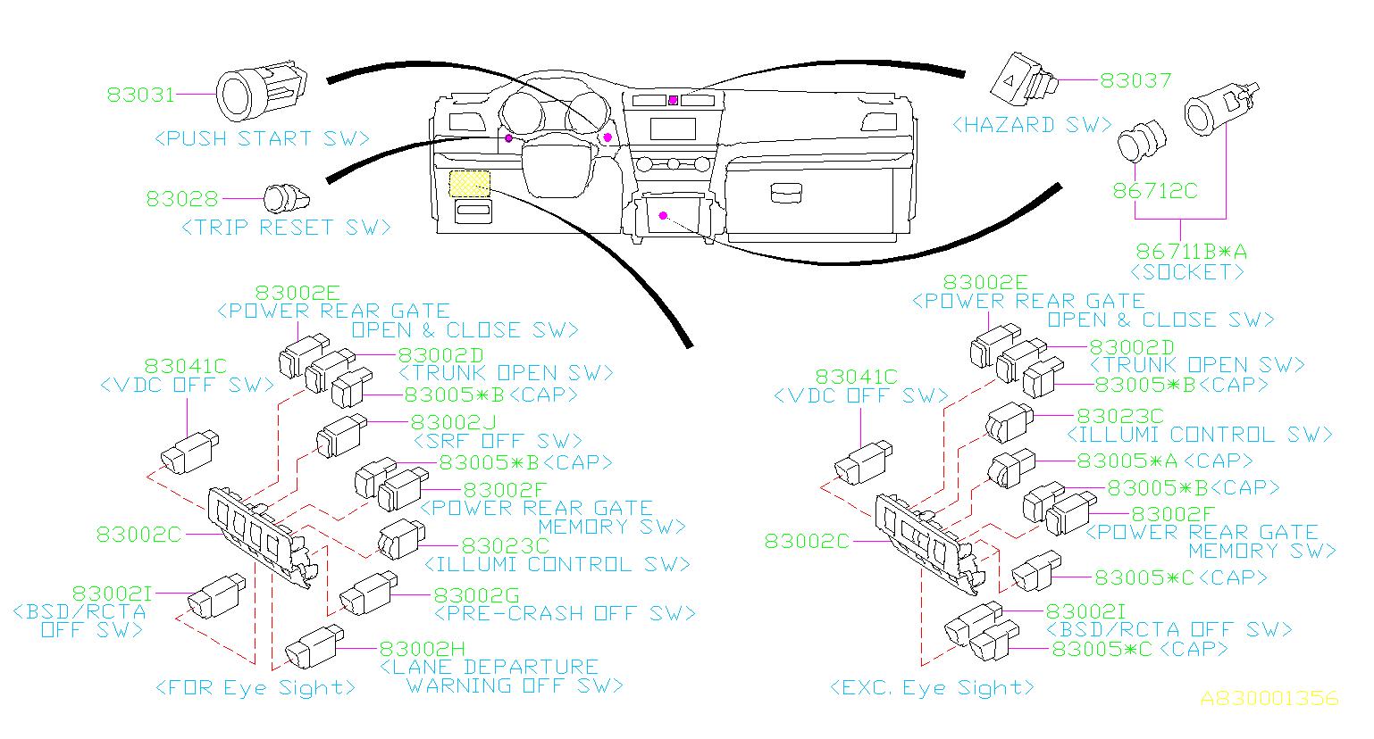 2017 Subaru Outback Switch Hazard  Panel  Instrumentpanel