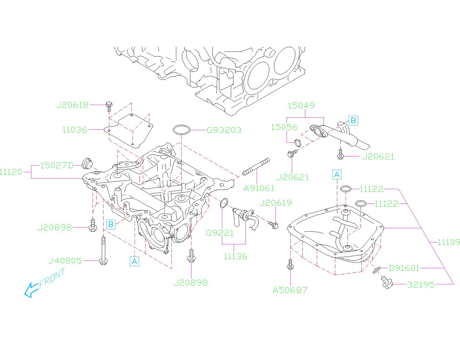 2020 Subaru Outback Engine Oil Pan Drain Plug Gasket