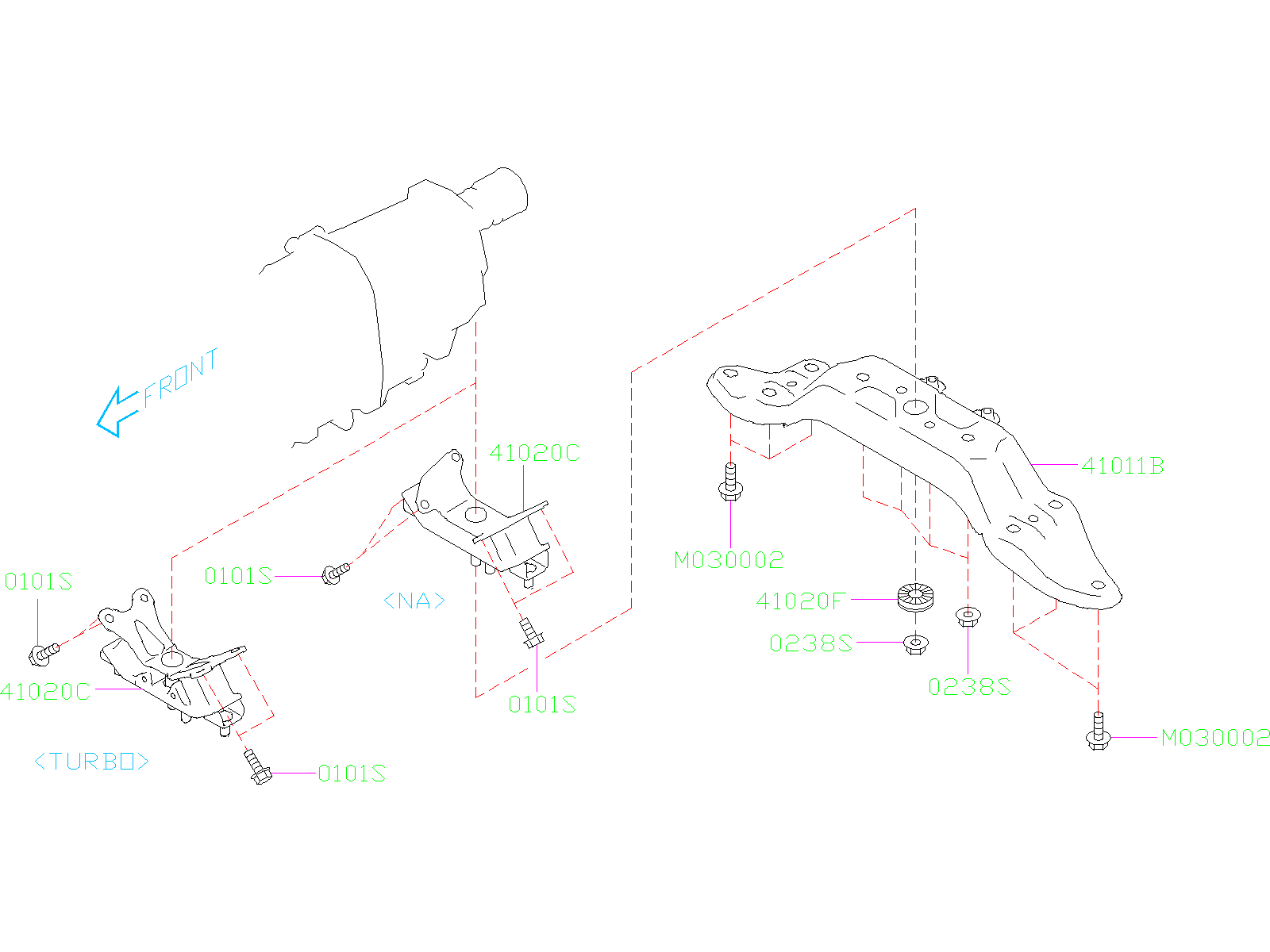 Diagram ENGINE MOUNTING. REAR. for your 2020 Subaru Legacy 2.4L CVT 4WD Touring