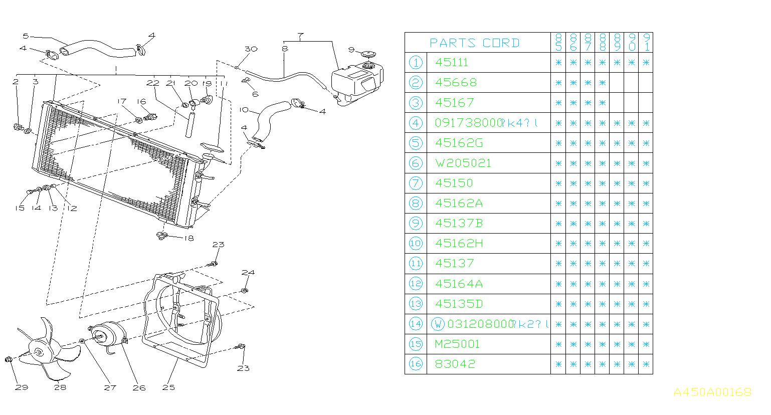 45106GA030  Cushionradiator upper    Engine     cooling