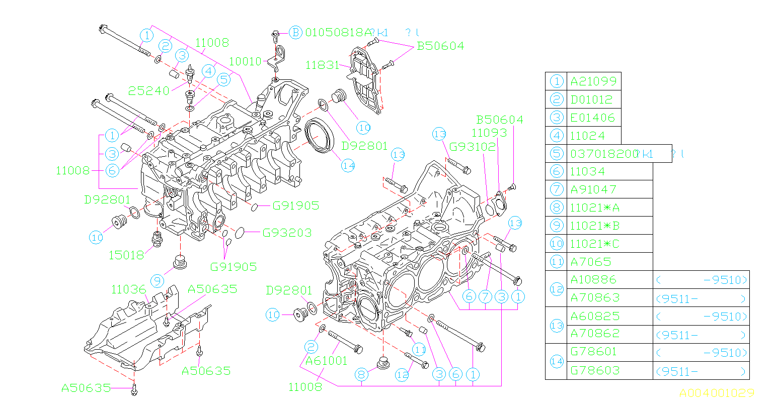 Diagram CYLINDER BLOCK. for your Subaru SVX 3.3L 4WD LSI