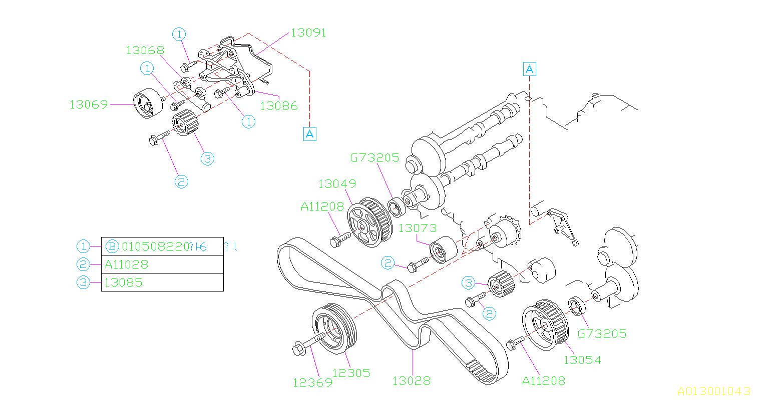 Diagram CAMSHAFT & TIMING BELT. BELT & SPROCKET. for your 1996 Subaru SVX 3.3L 4WD LSI