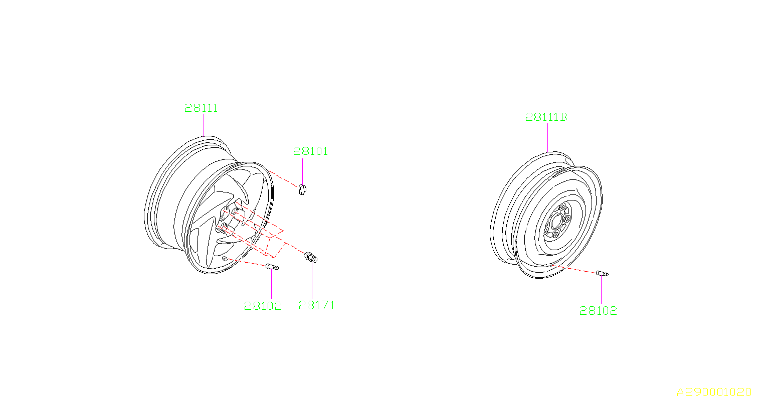Diagram DISK WHEEL. for your 1995 Subaru SVX 3.3L 4WD LSI