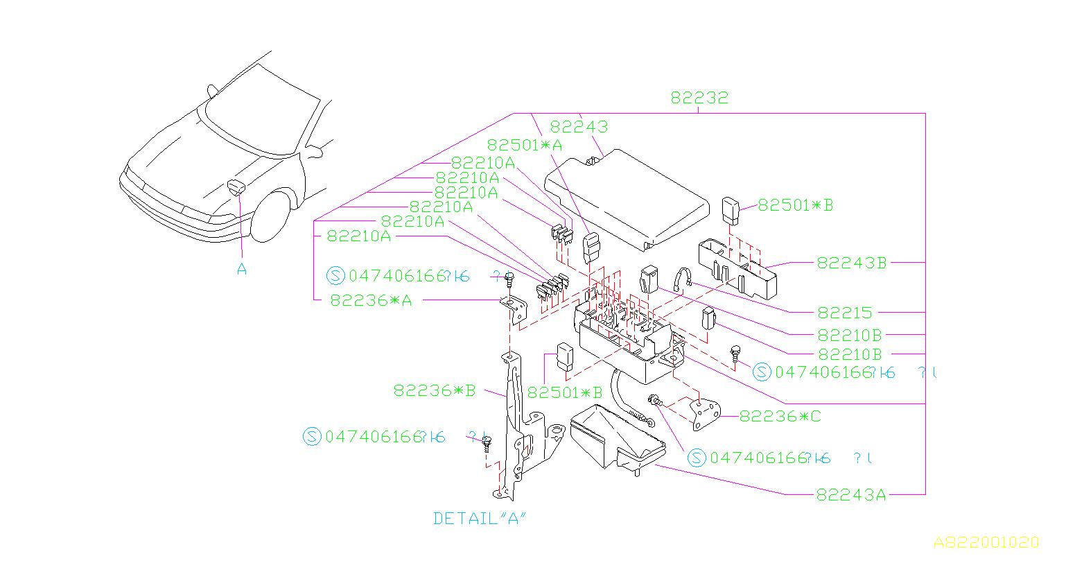 82233AA001 - Fuse. BOX, Electrical, Main - Genuine Subaru Part