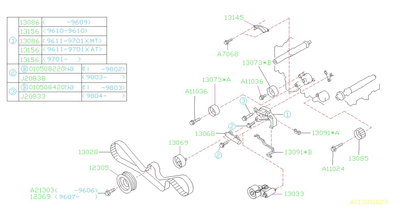 Diagram CAMSHAFT & TIMING BELT. BELT & TENSIONER. for your 1999 Subaru Impreza