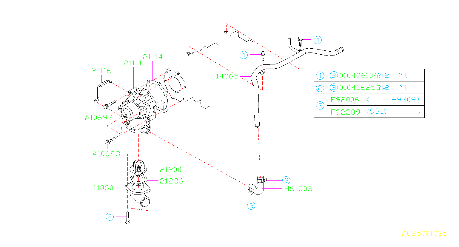 Diagram WATER PUMP. for your Subaru