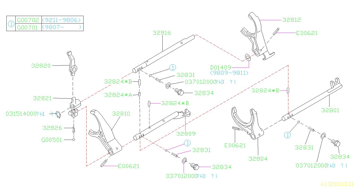 1998 subaru impreza arm fork rod reverse shifter rail. Black Bedroom Furniture Sets. Home Design Ideas