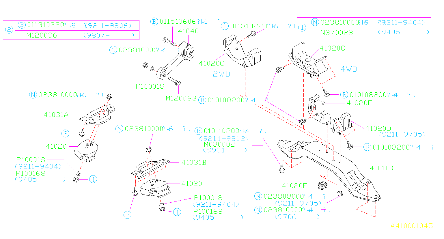 Diagram ENGINE MOUNTING. for your 2001 Subaru Impreza 2.5L AT 4WD RS Coupe