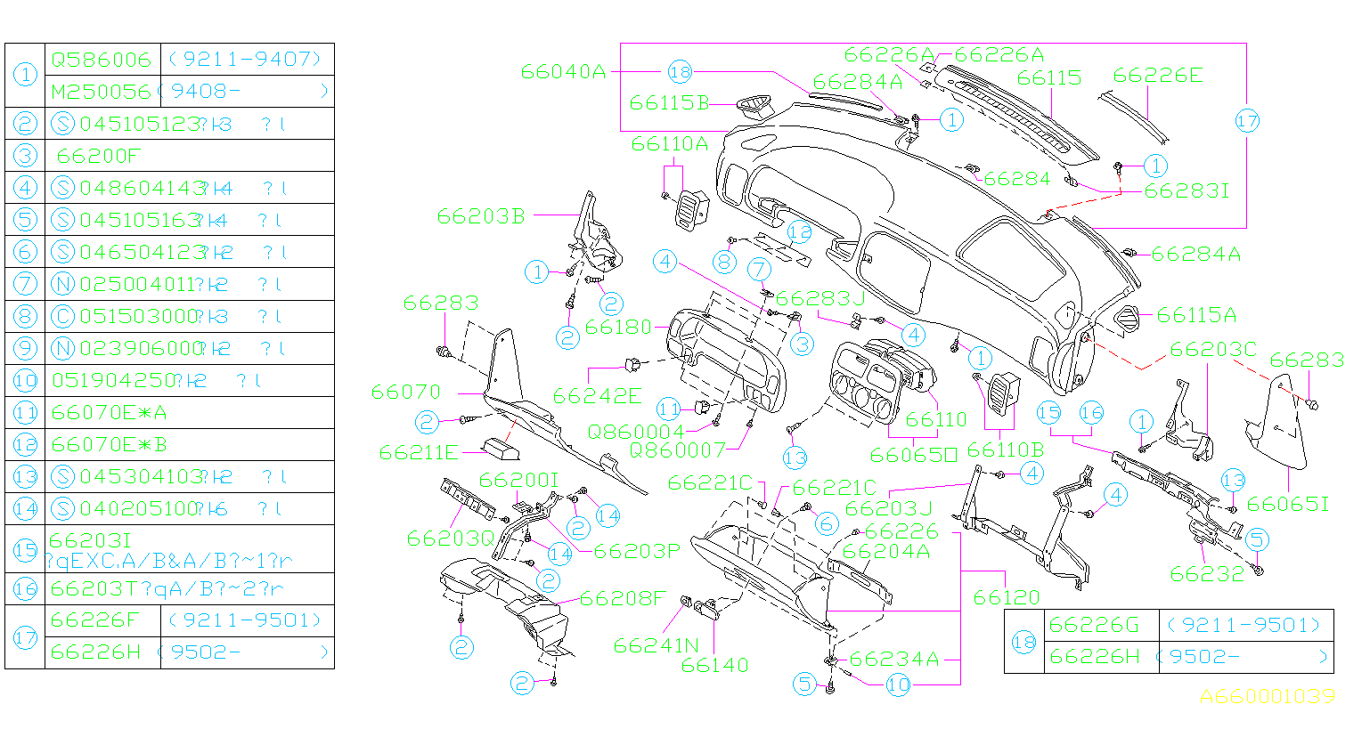 Diagram INSTRUMENT PANEL. for your Subaru