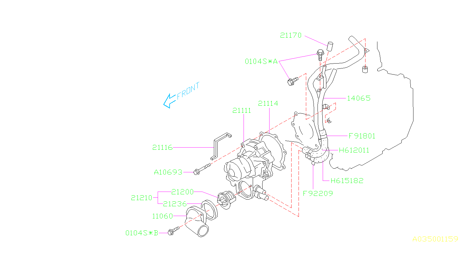 Diagram WATER PUMP. for your 2003 Subaru STI