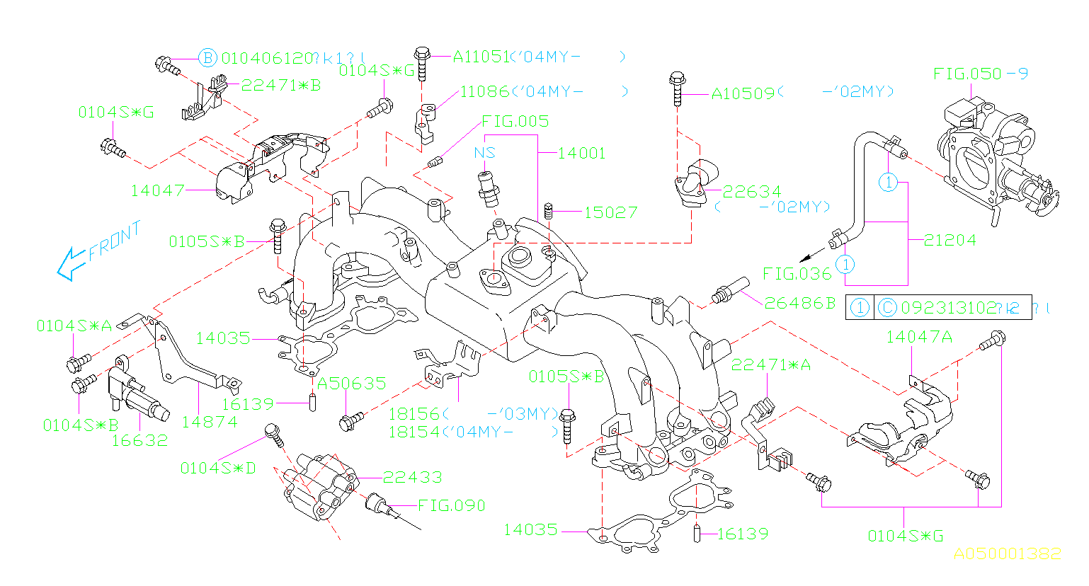 Diagram INTAKE MANIFOLD. INTAKE MANIFOLD '02MY-'04MY. for your Subaru