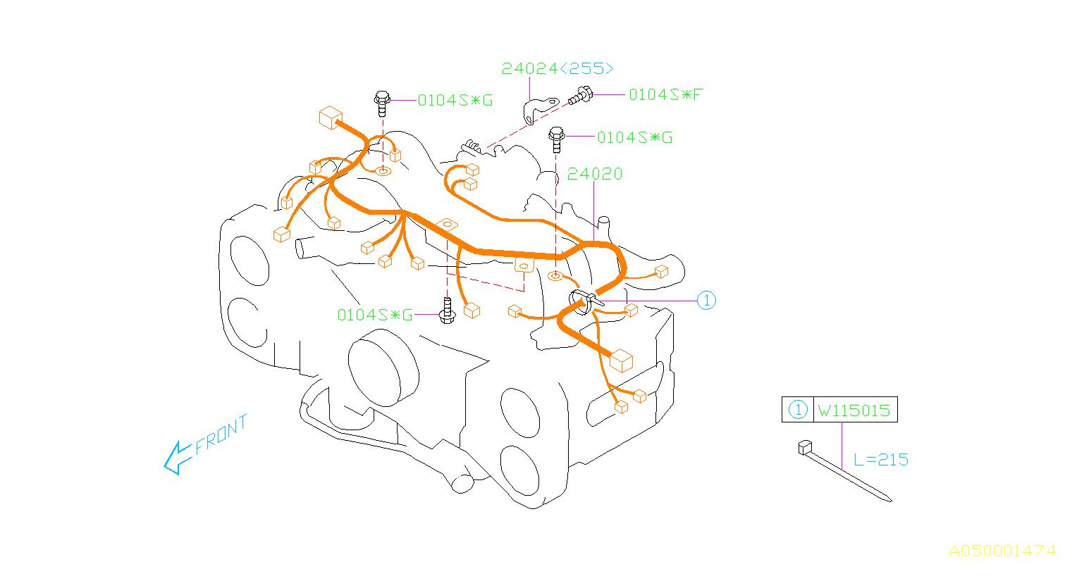 2003 Subaru Impreza  205  5mt 4wd Wrx Wagon Engine Wiring Harness  Wiring Harness Used For The