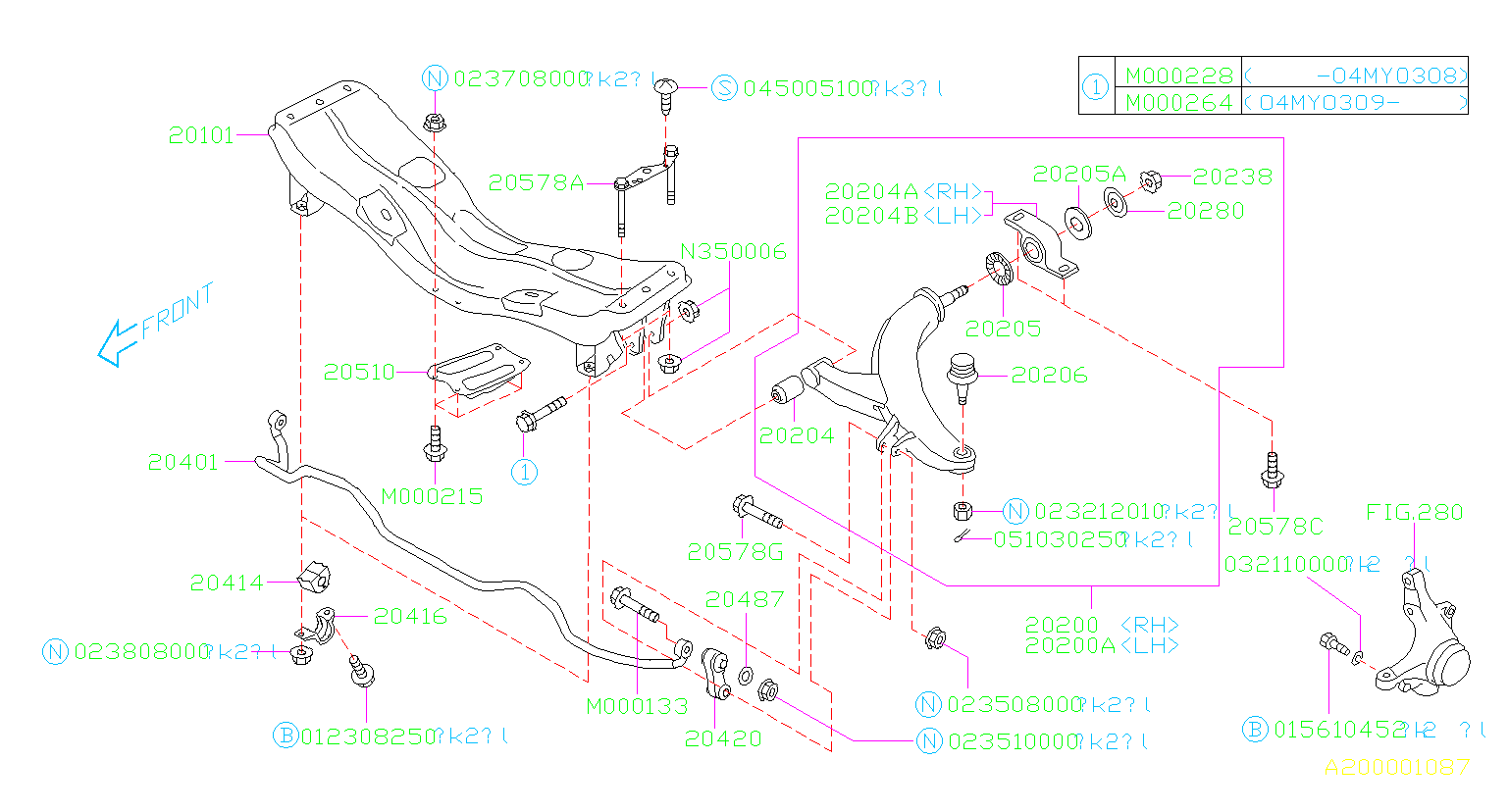 Diagram FRONT SUSPENSION. '02MY-'04MY. for your 2003 Subaru Impreza  Outback Wagon