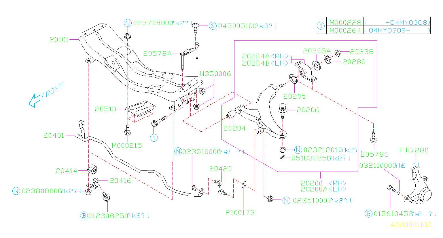 Diagram FRONT SUSPENSION. '02MY-'04MY. for your 2004 Subaru Impreza  RS Sedan