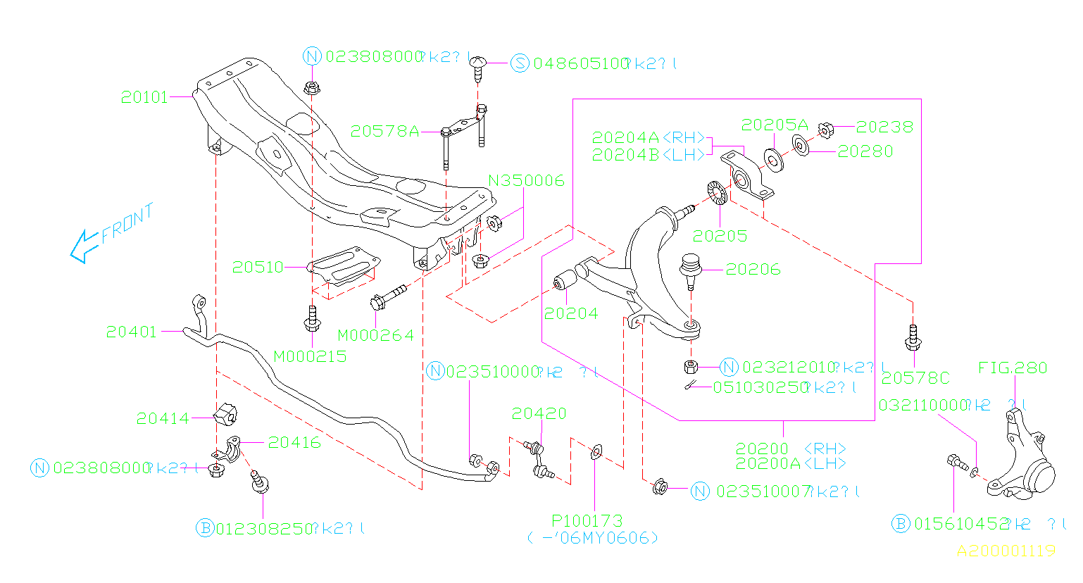 Diagram FRONT SUSPENSION. '05MY-. for your 2004 Subaru Impreza  RS Sedan