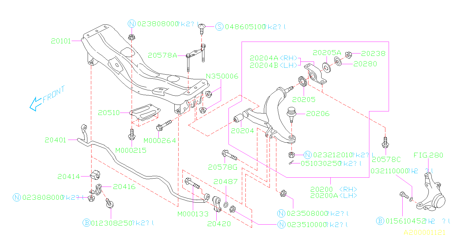 Diagram FRONT SUSPENSION. '05MY-. for your 2004 Subaru Impreza  Outback Wagon