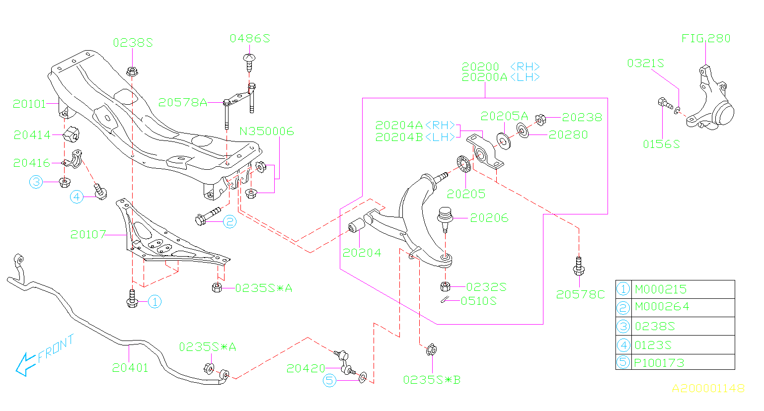 Diagram FRONT SUSPENSION. '07MY-. for your 2006 Subaru STI