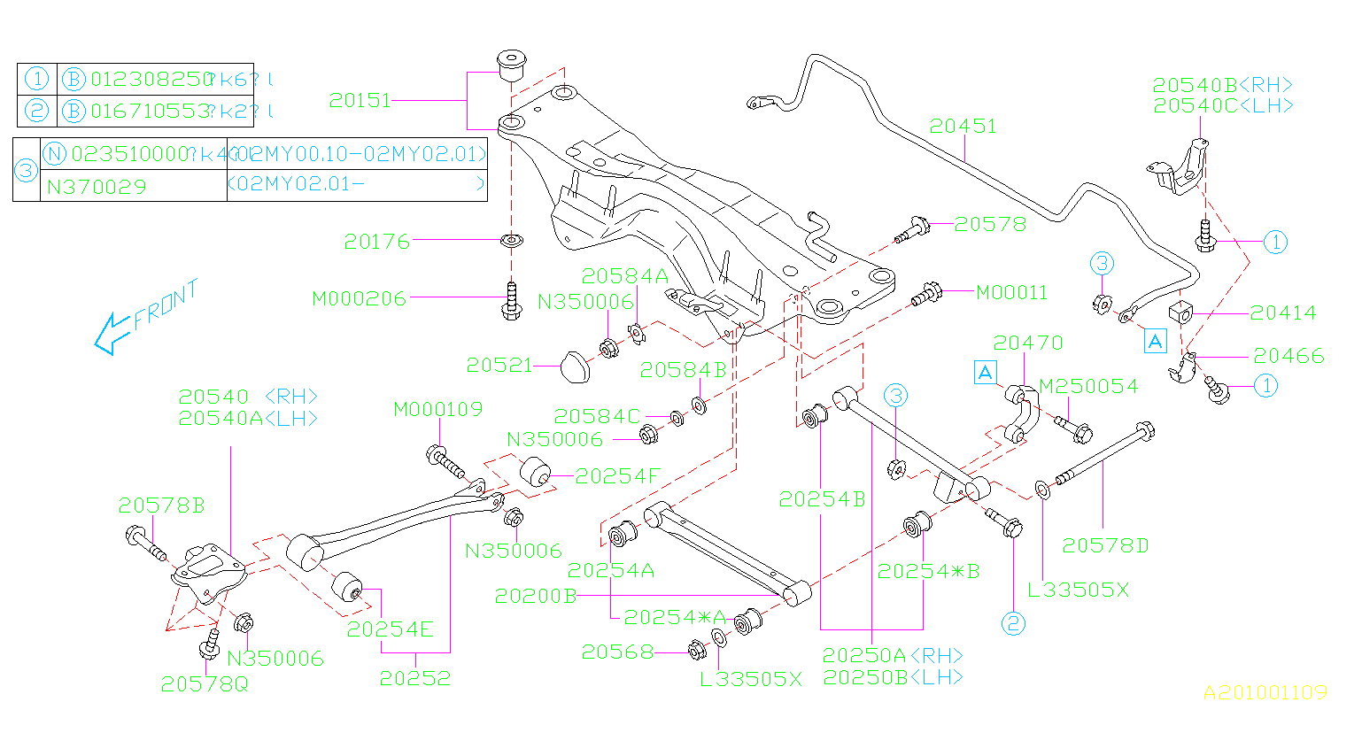 Diagram REAR SUSPENSION. for your 2002 Subaru Impreza