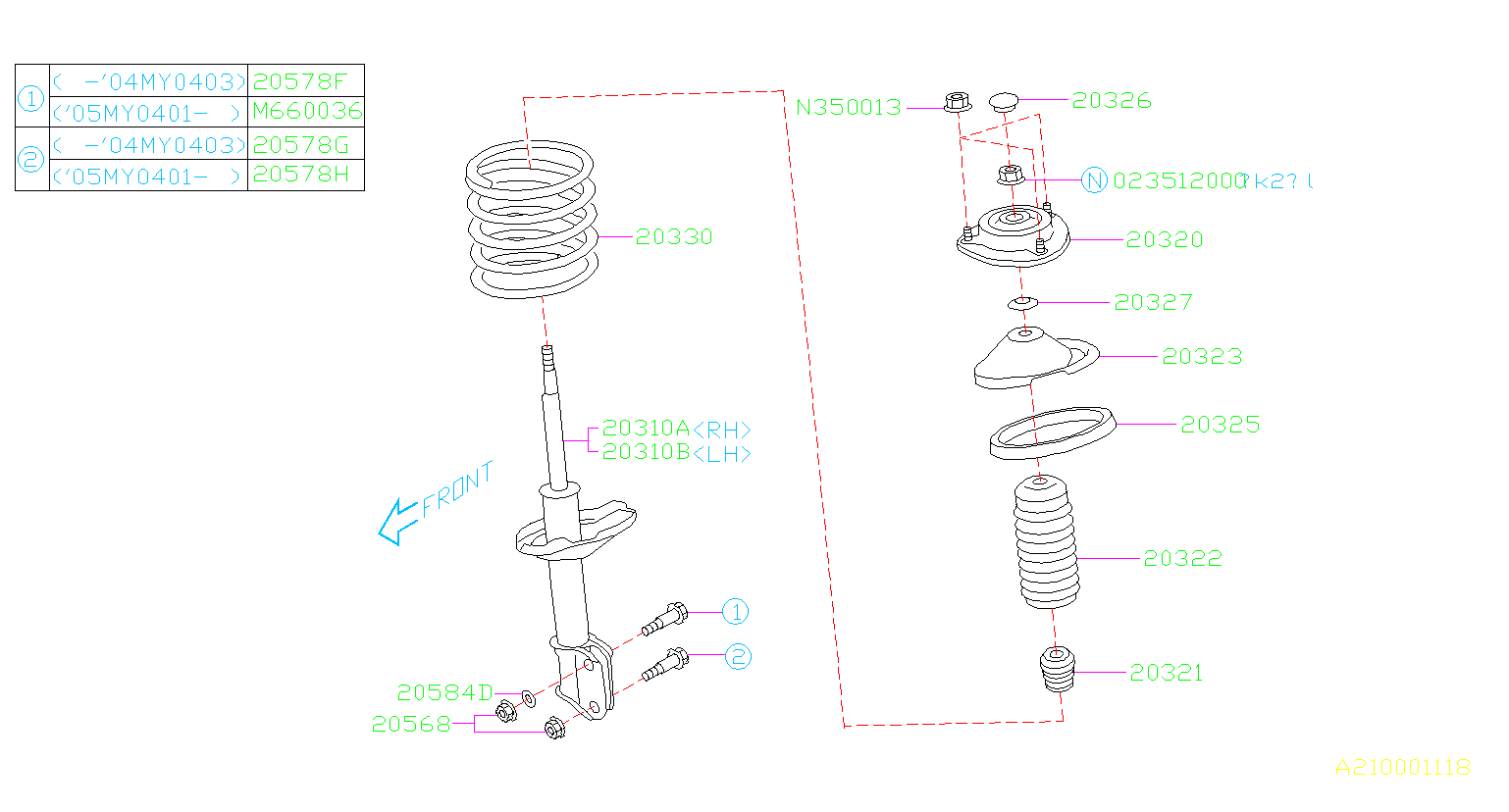 Diagram FRONT SHOCK ABSORBER. for your 2004 Subaru Impreza  STI Sedan