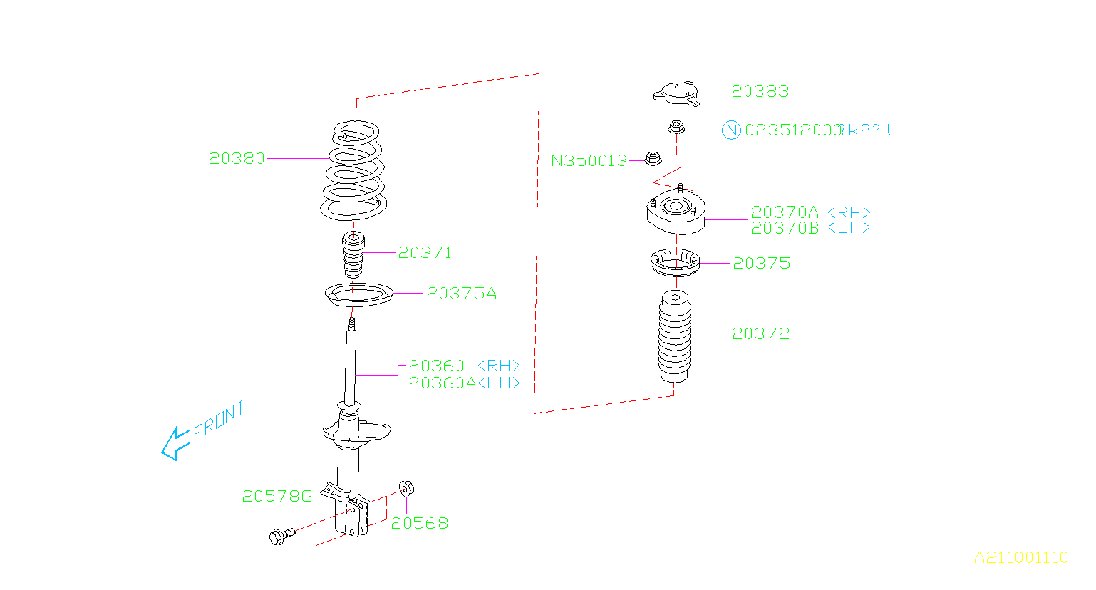 Diagram REAR SHOCK ABSORBER. '02MY-'03MY. for your 2002 Subaru Impreza