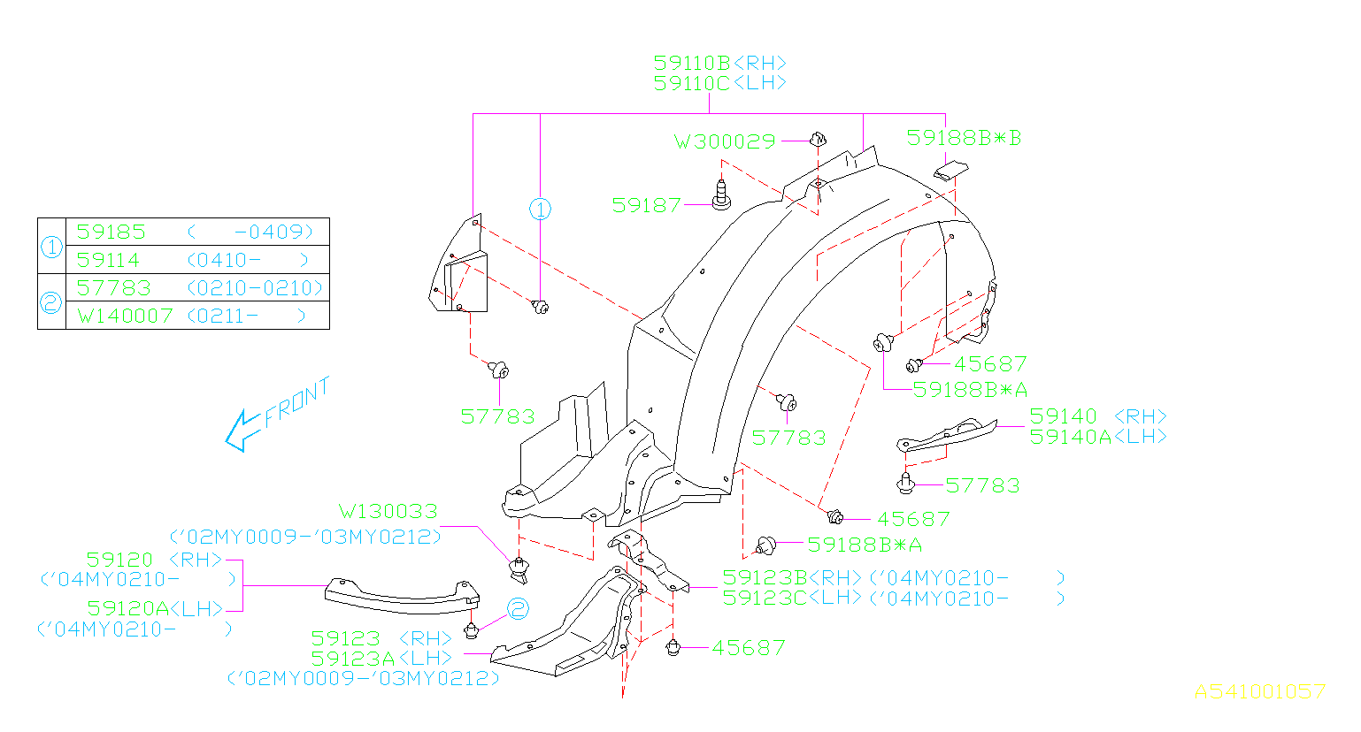 Diagram MUDGUARD. '02MY-'05MY. for your Subaru