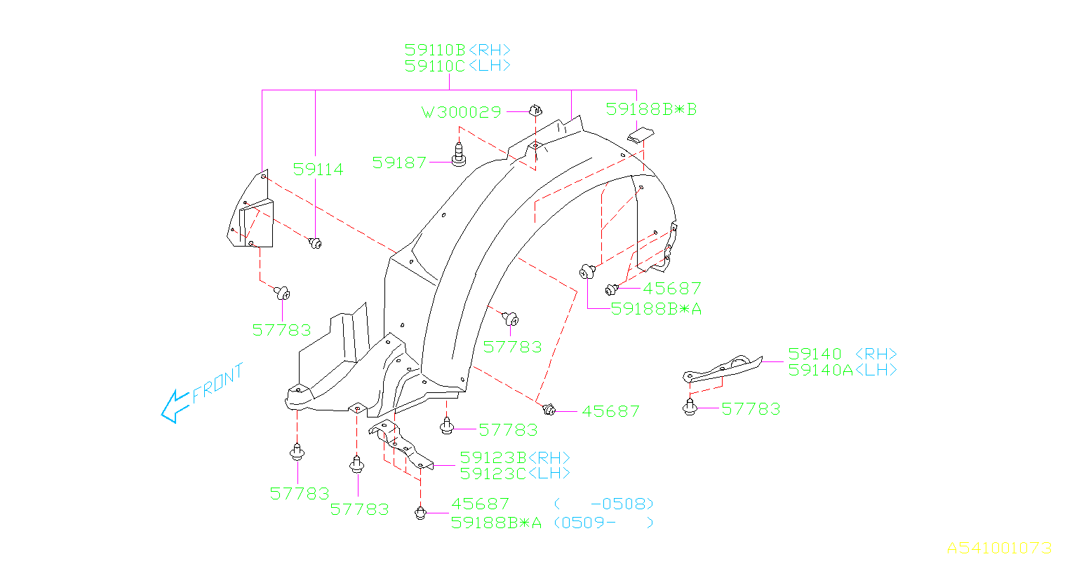 Diagram MUDGUARD. '06MY-. for your Subaru