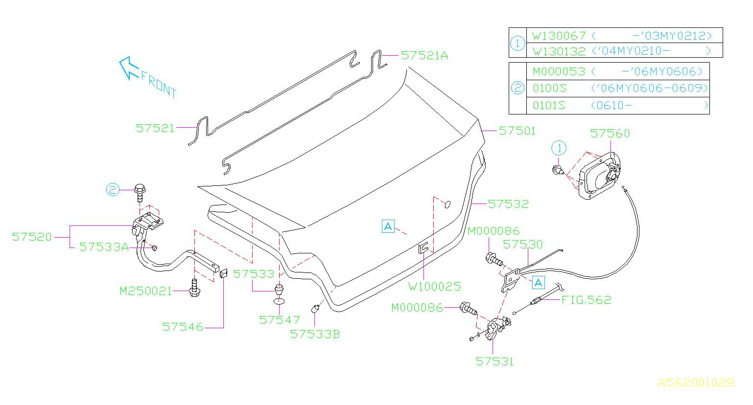 Diagram TRUNK & FUEL PARTS. TRUNK. for your 2002 Subaru Impreza