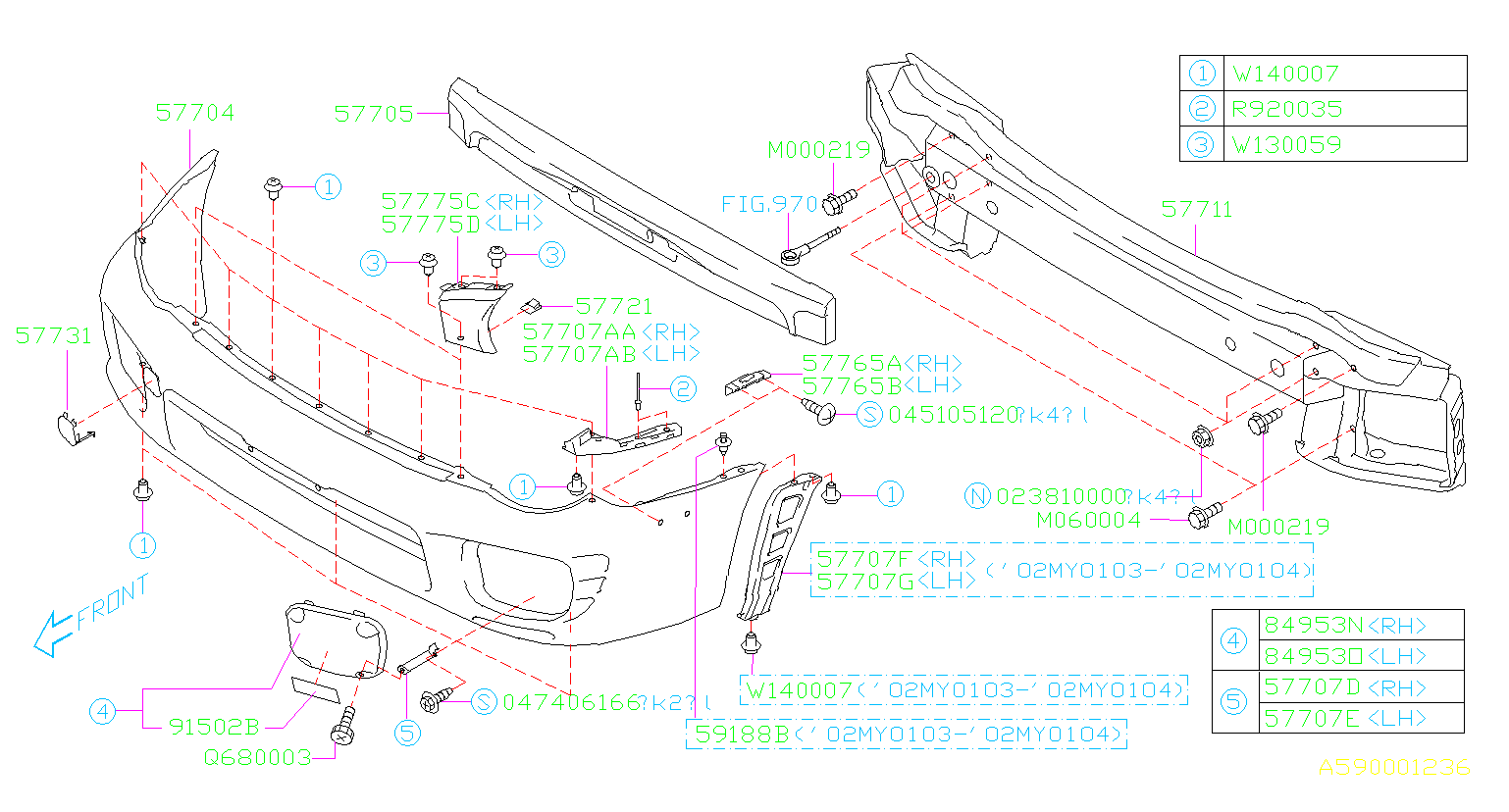 Diagram FRONT BUMPER. '02MY-'03MY. for your Subaru