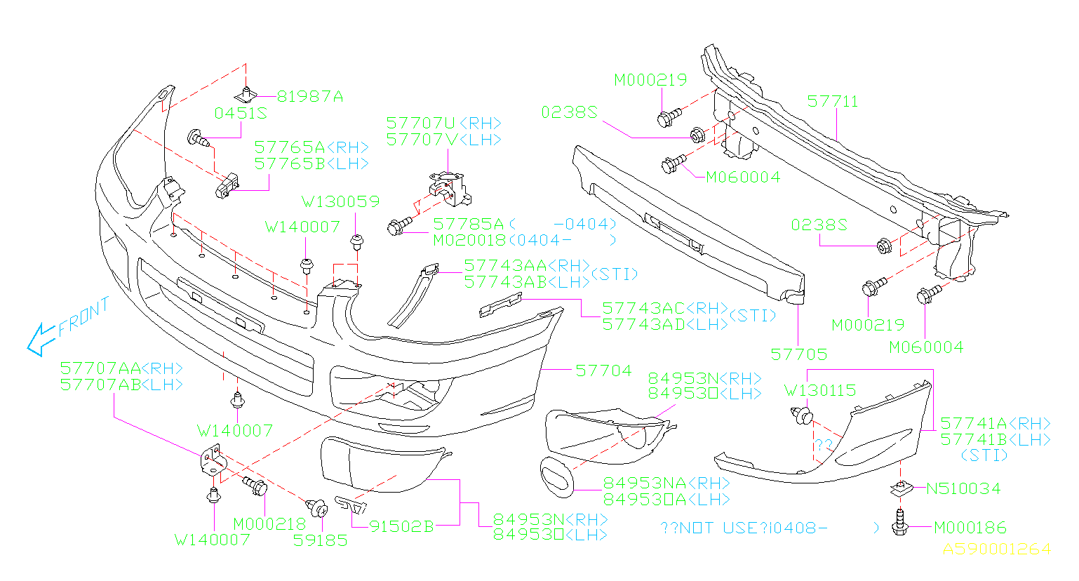 Diagram FRONT BUMPER. '04MY-'05MY. for your 2003 Subaru Impreza (205) 5MT 4WD WRX Wagon