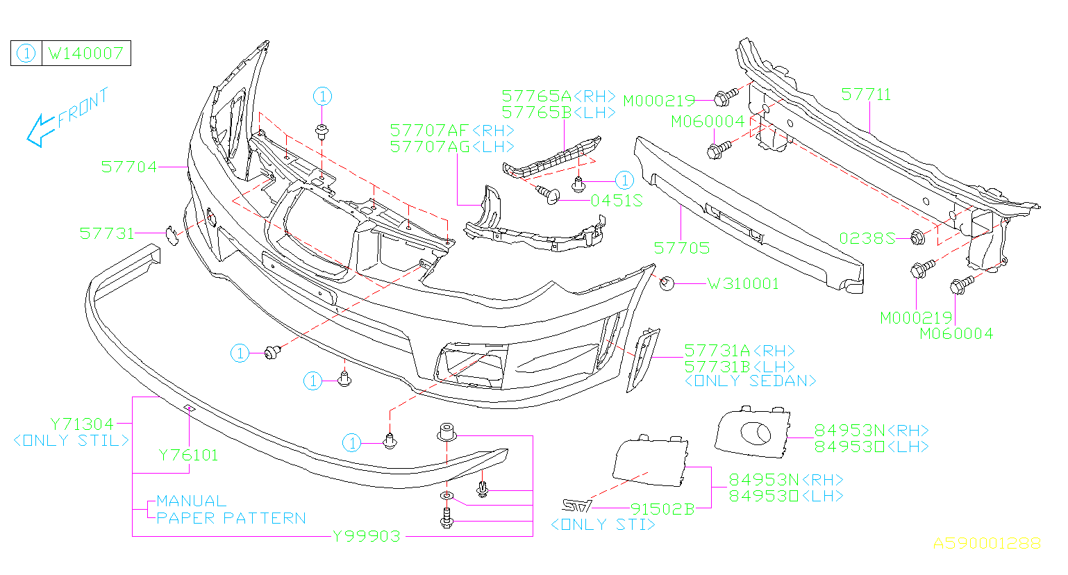 Diagram FRONT BUMPER. '06MY-. for your Subaru