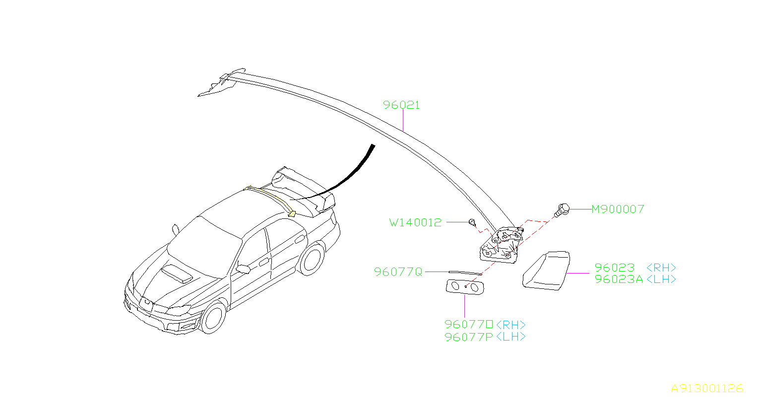 Diagram PROTECTOR. VANE-ROOF '06MY-. for your Subaru