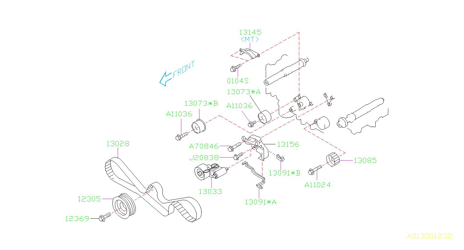 13156aa062 - bracket complete-tensioner  timing  belt  camshaft  engine  cooling