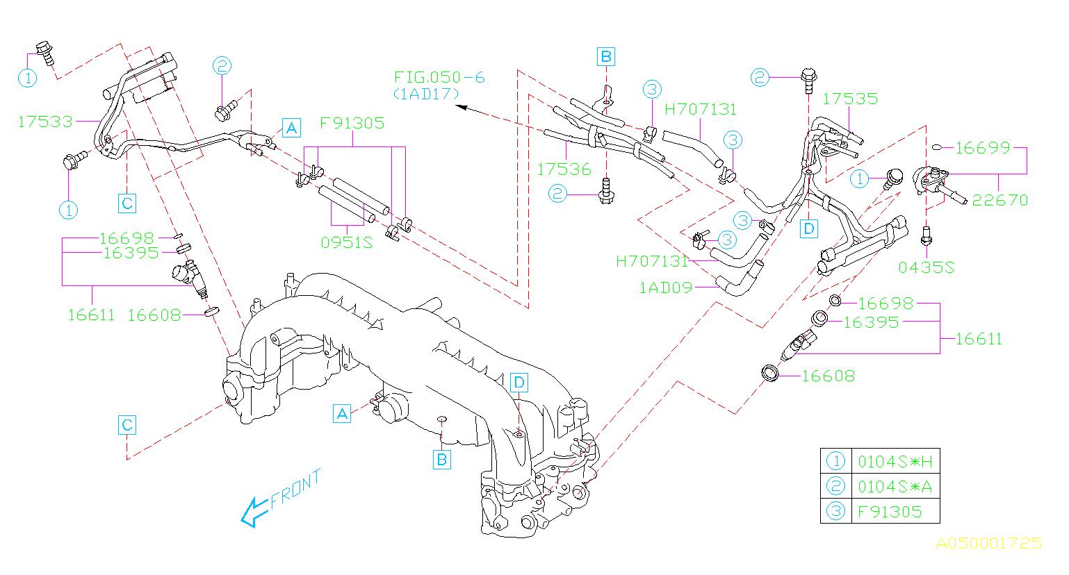 2010 Subaru Impreza Fuel Injector  Intake  Manifold  Pipe