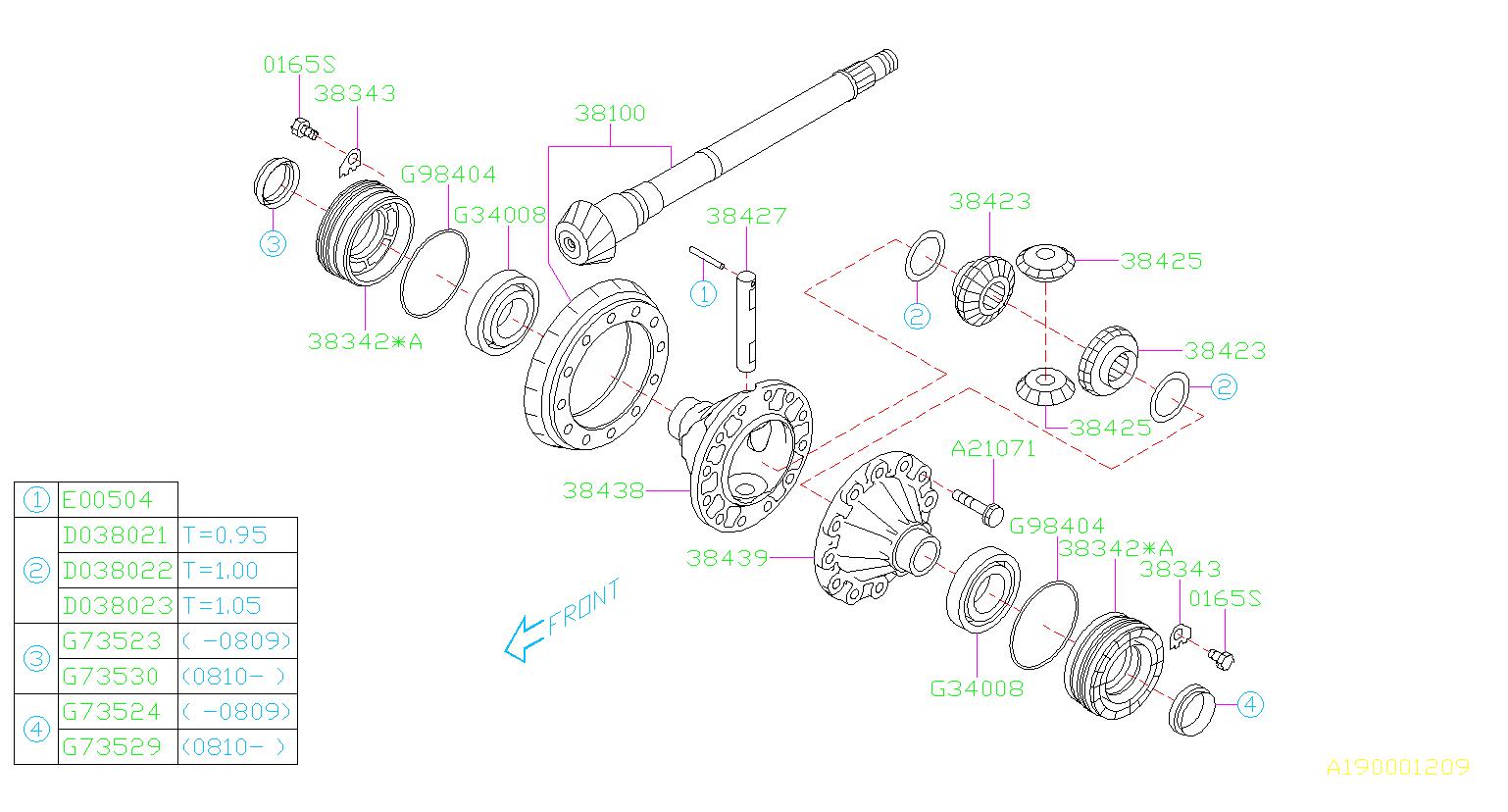 2011 Subaru Impreza Case Differential   Right  -2x  Transmission  Driveline