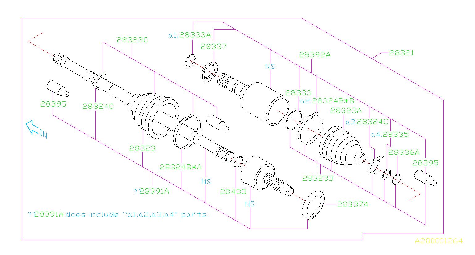 2005 Subaru Impreza Wrx >> 28321FJ020 - Drive shaft assembly-front. Axle, suspension ...