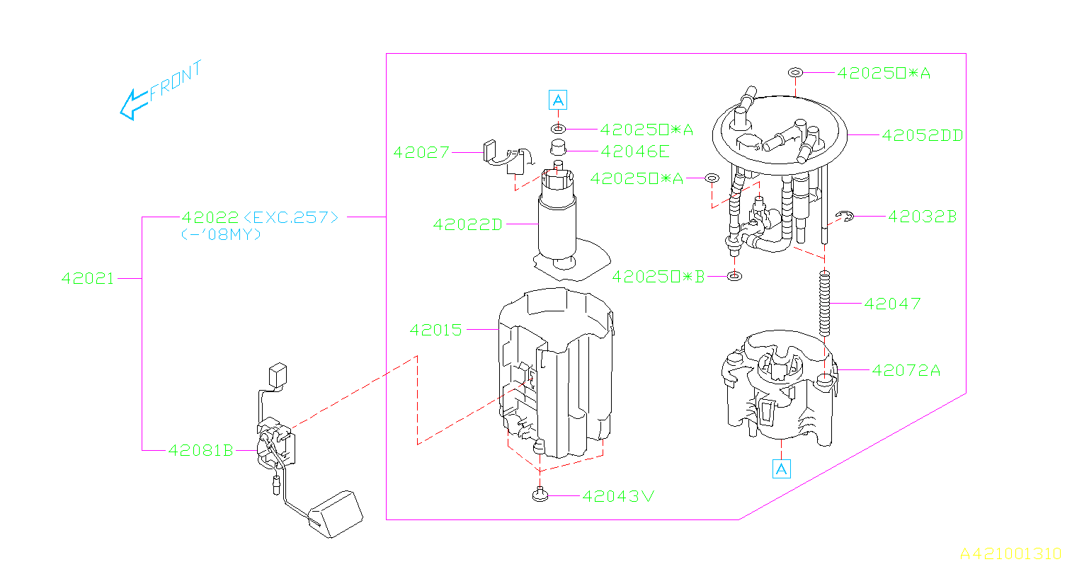 Subaru Impreza Bracket-fuel pump. Tank, engine, cooling ...