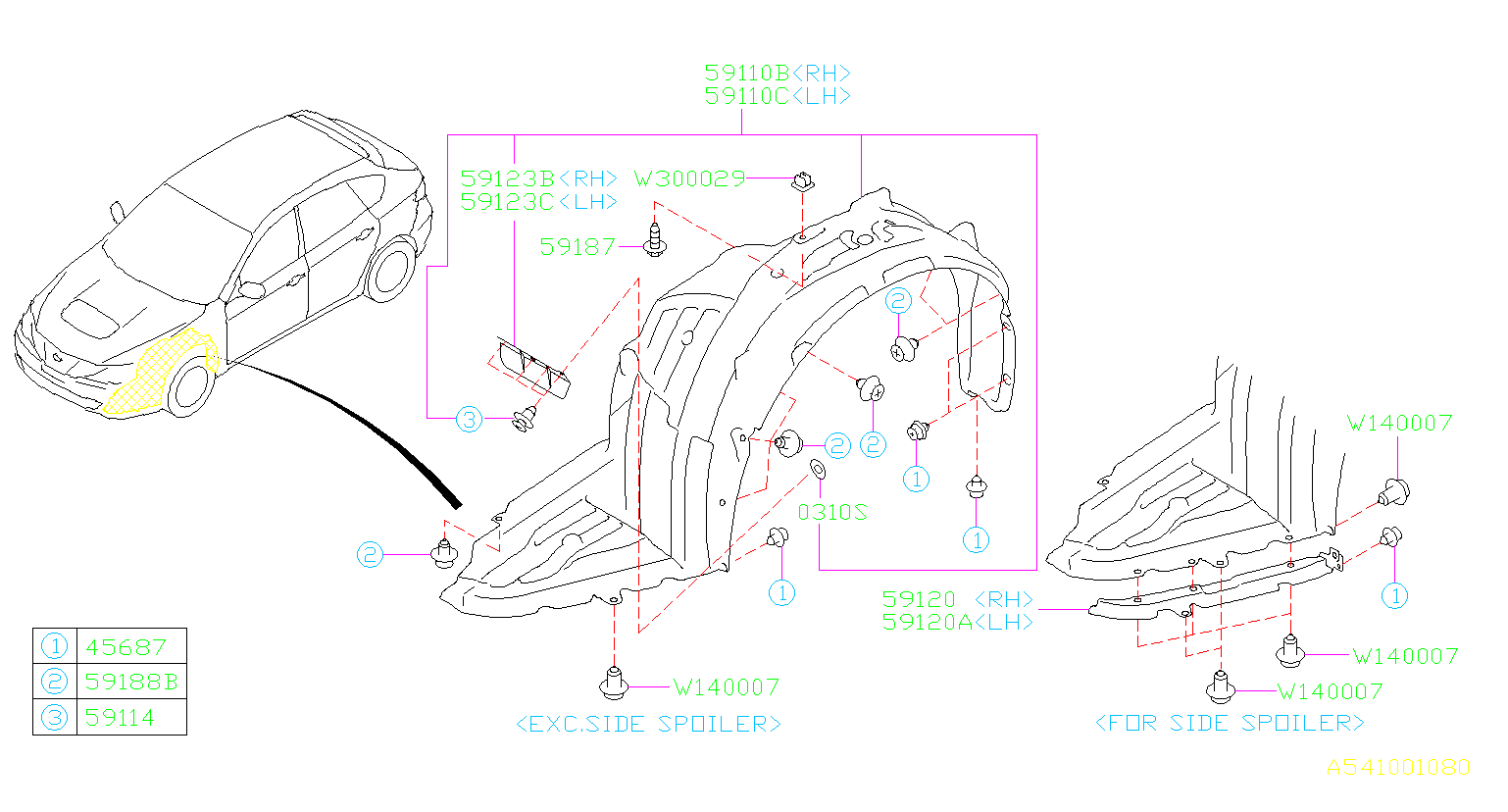 Diagram MUDGUARD. FRONT '08MY-'09MY. for your Subaru