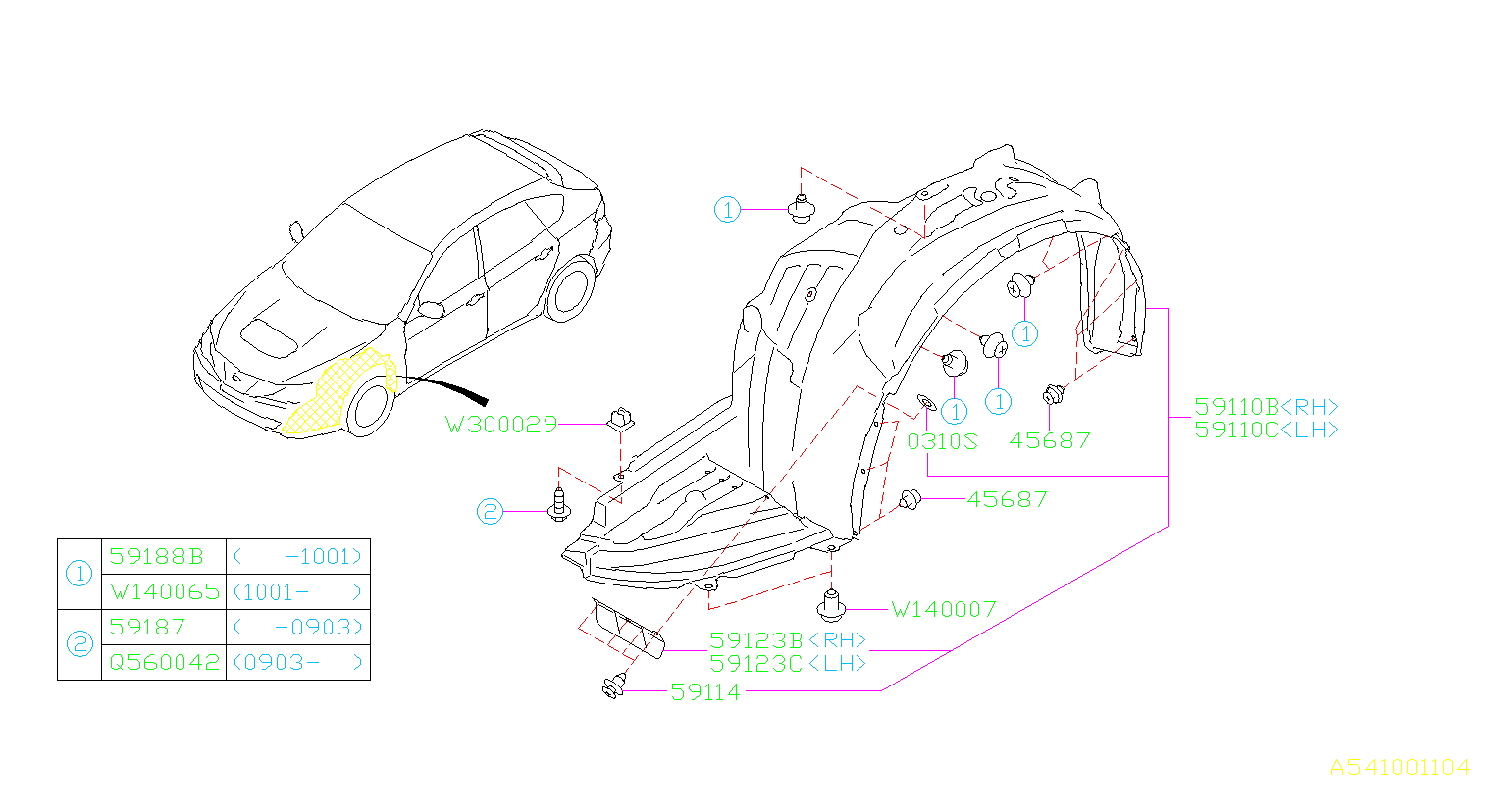 Diagram MUDGUARD. FRONT '09MY-'10MY. for your Subaru