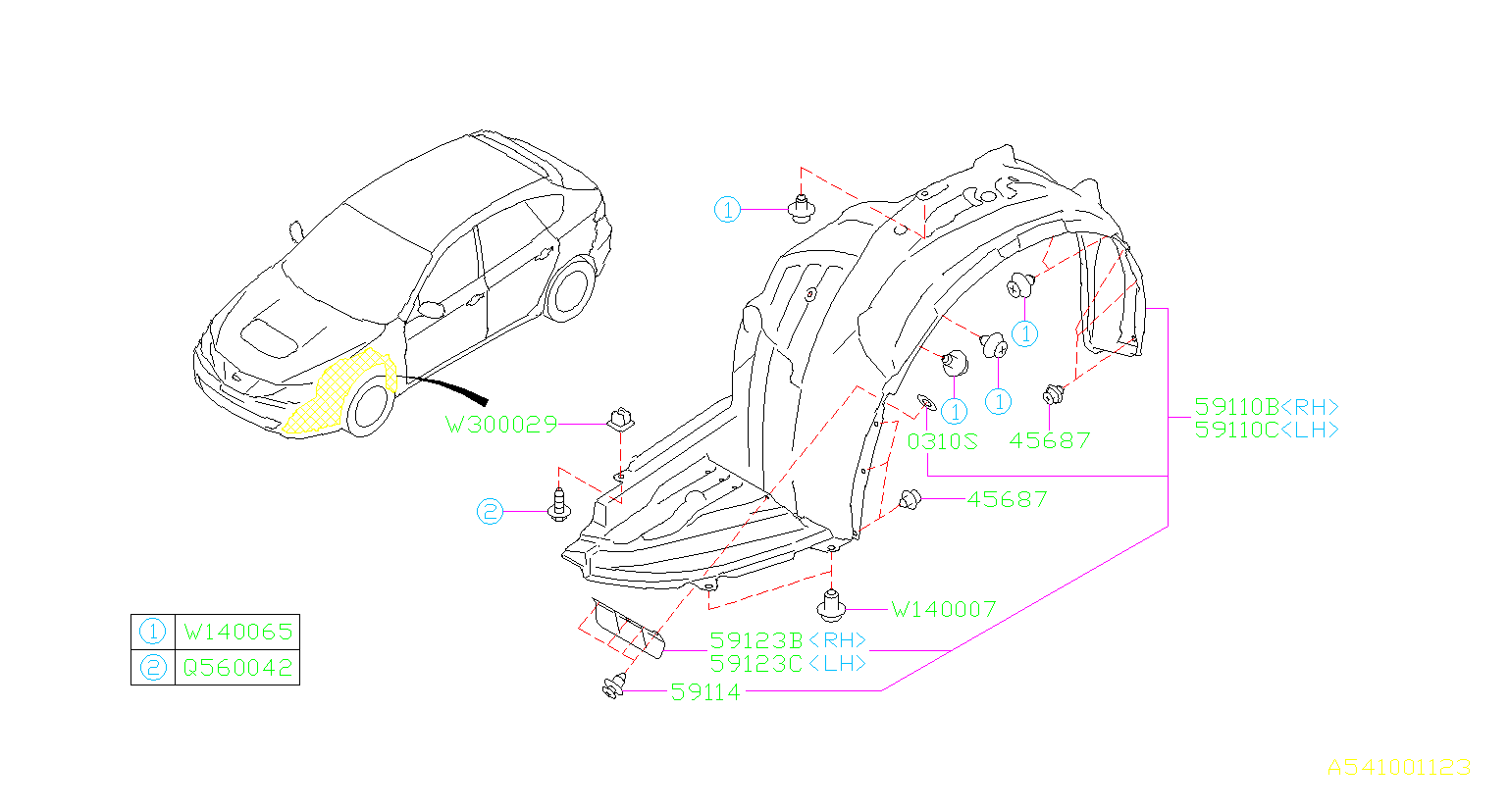 Diagram MUDGUARD. FRONT '11MY-. for your 2013 Subaru