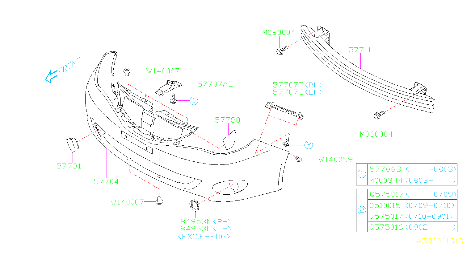Diagram FRONT BUMPER. '08MY-'10MY. for your Subaru