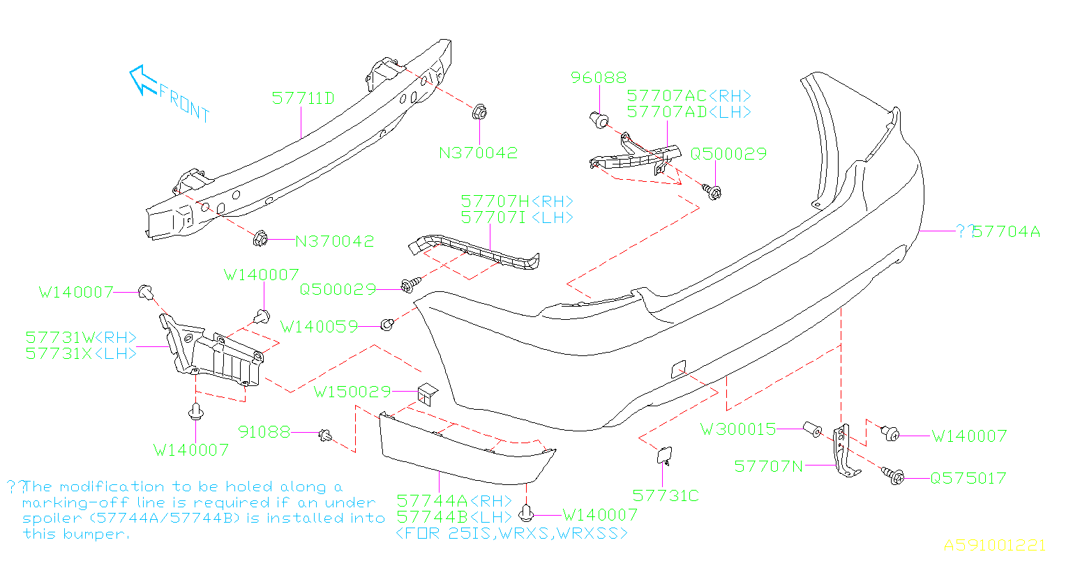 Diagram REAR BUMPER. '08MY-'10MY. for your Subaru