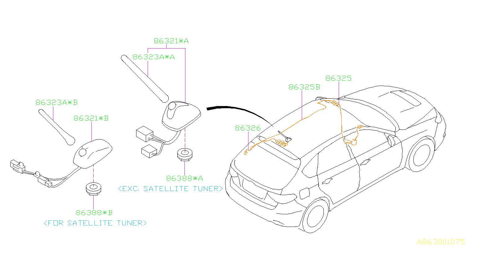 2009 subaru impreza antenna assembly-radio  electrical  audio - 86321fg700