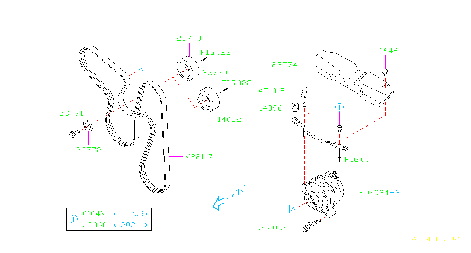 23770aa070 - Pulley-idler  Alternator  System
