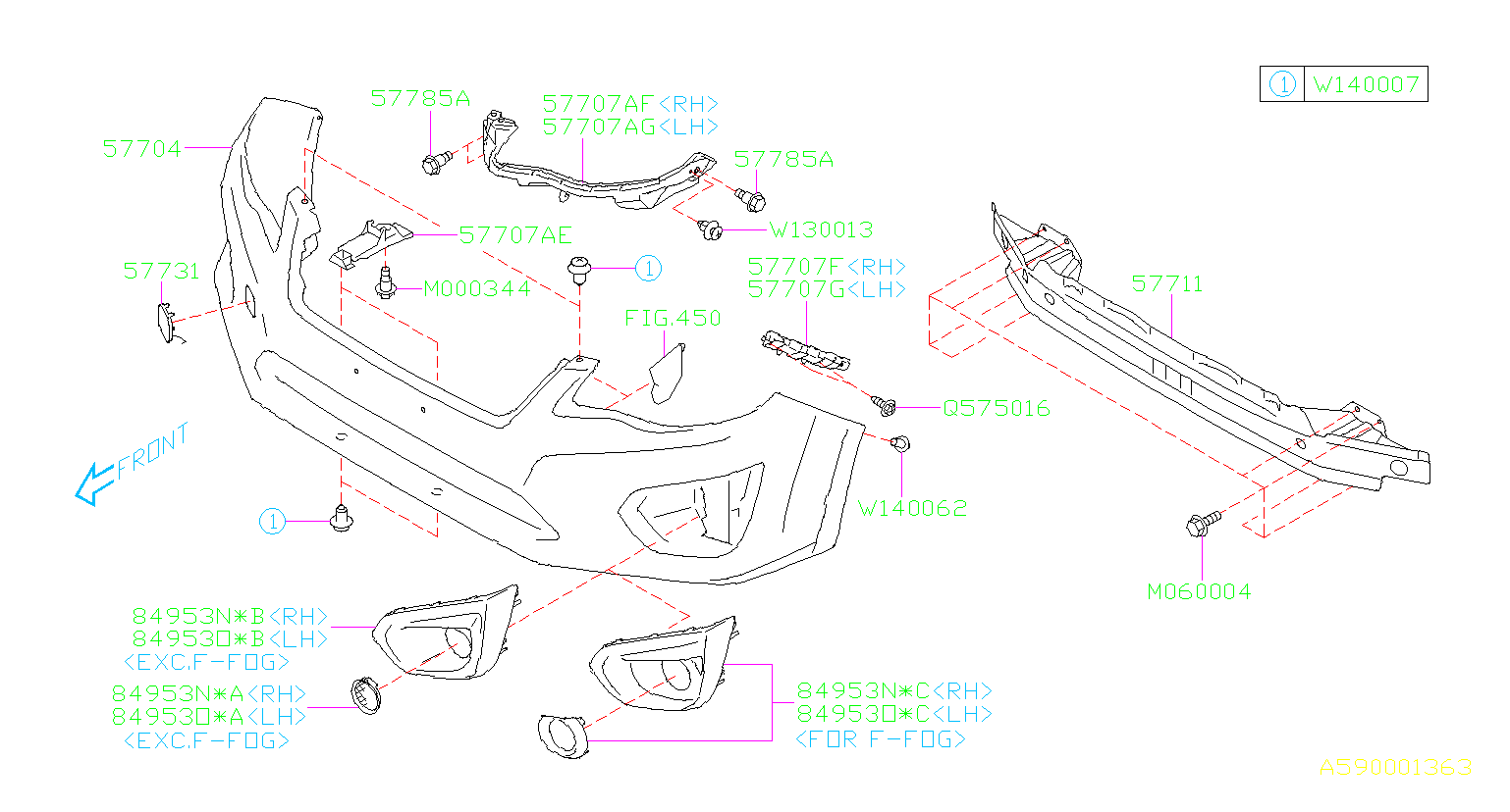 Diagram FRONT BUMPER. '12MY-'14MY. for your Subaru