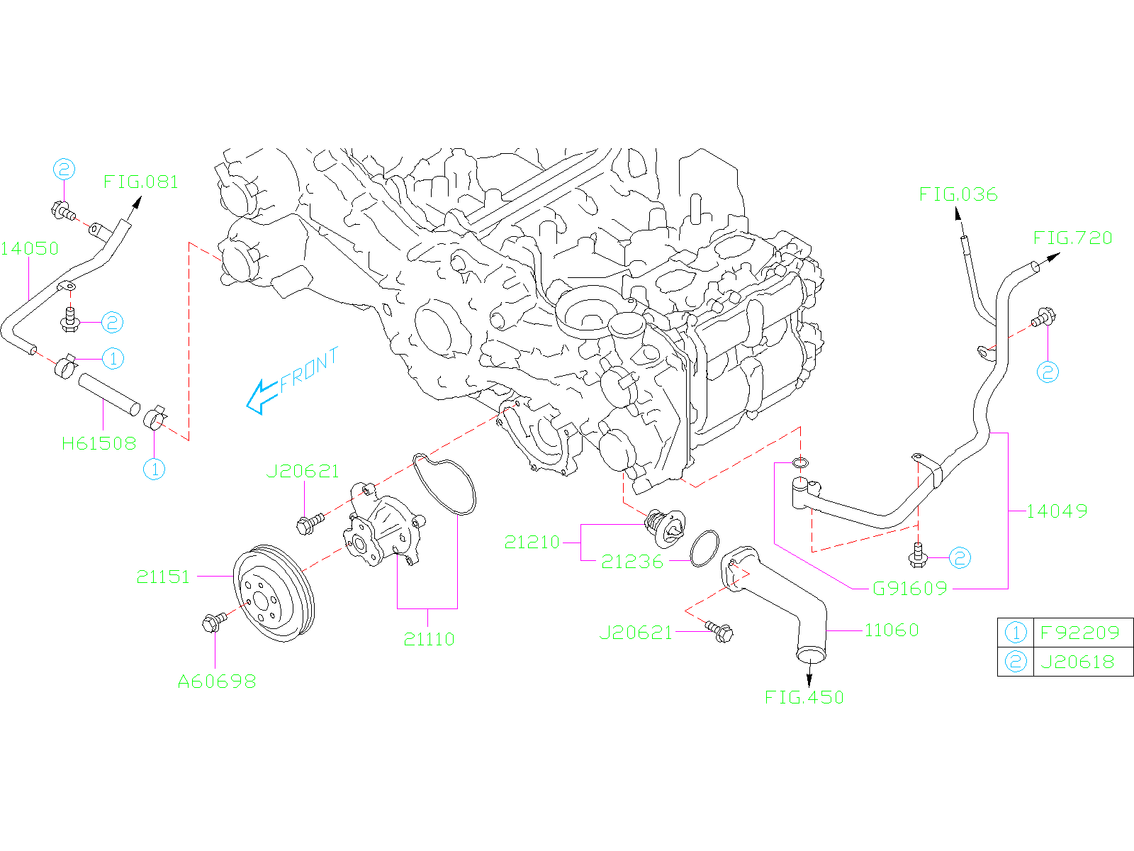 Diagram WATER PUMP. for your 2017 Subaru Impreza 2.0L CVT 4WD Limited Wagon w/EyeSight