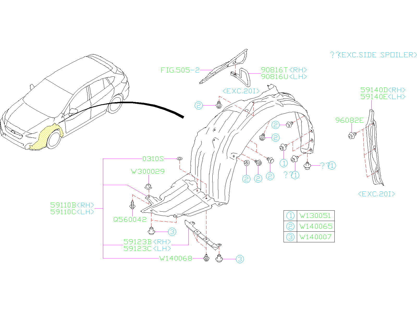 Diagram MUDGUARD. FRONT. for your 2017 Subaru Impreza