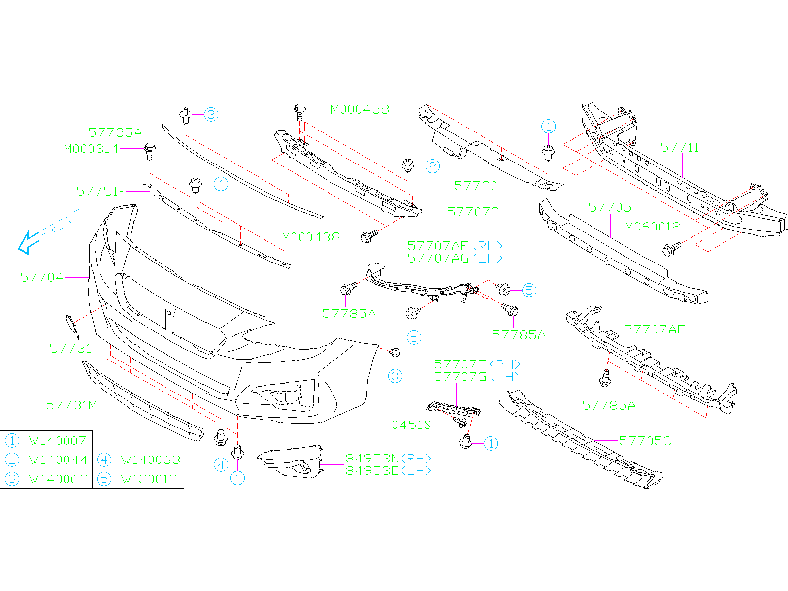Subaru Impreza Bracket Bumper Corner   Right  Front   Body