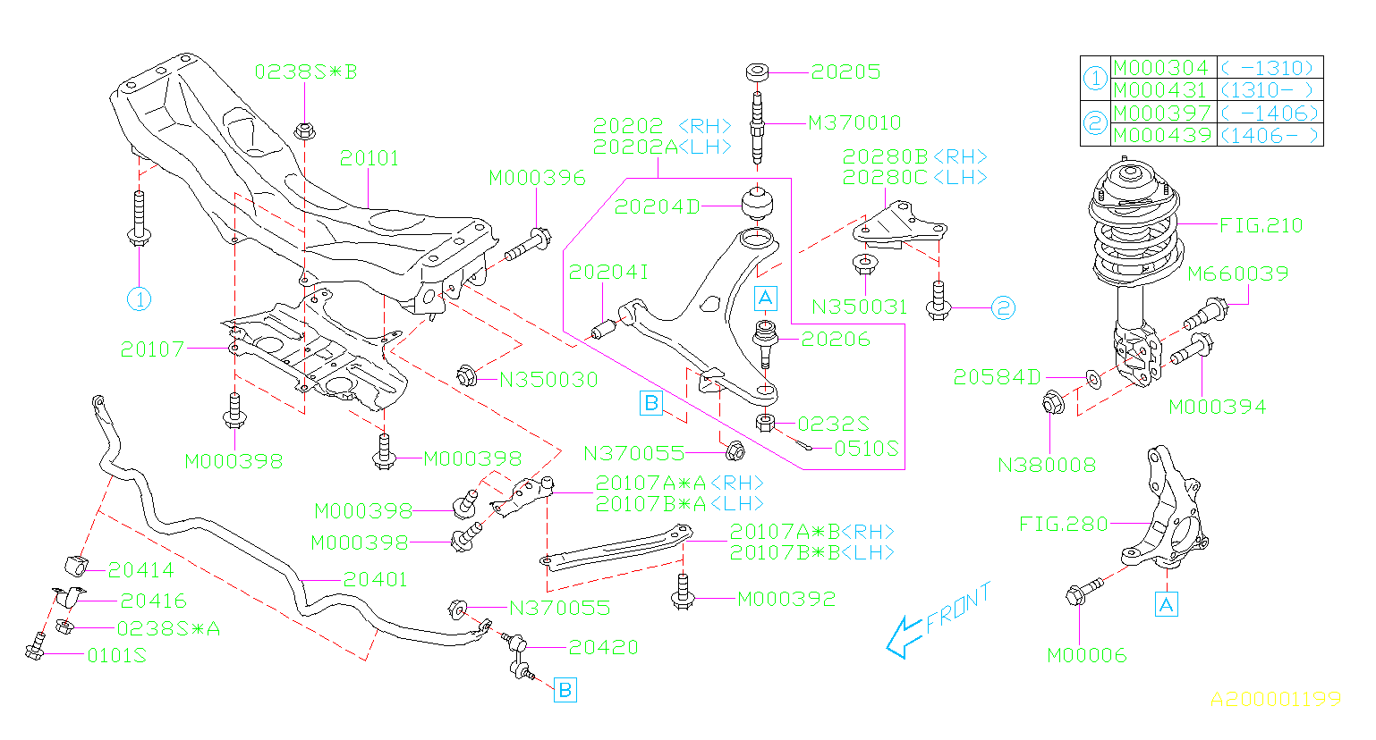 Diagram FRONT SUSPENSION. for your 2013 Subaru Impreza