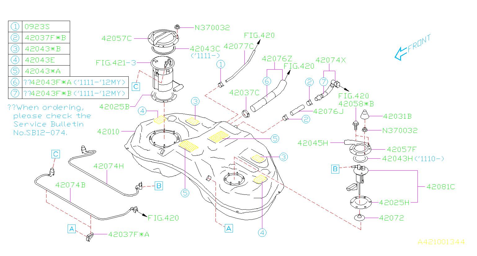 Subaru Impreza Fuel Tank Vent Hose  Engine  Cooling  Air
