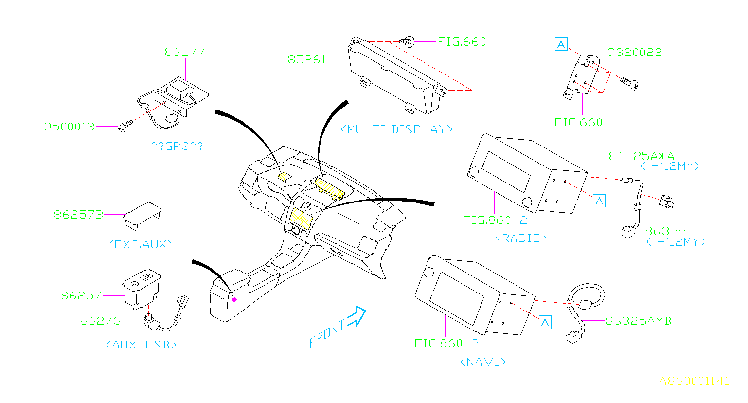 Diagram AUDIO PARTS (RADIO). SYSTEM '12MY-'14MY. for your 2002 Subaru WRX  STI w/Spoiler